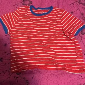 Red shirt with white stripes